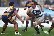 Auckland's Ben Atiga runs into BOP's Lelia Masaga. ITM Cup rugby union match, Bay of Plenty v Auckland at Bay Park Stadium, Mt Maunganui, New Zealand. Saturday 14th August 2010. Photo: Anthony Au-Yeung/PHOTOSPORT