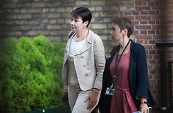 © Licensed to London News Pictures. 27/08/2019. London, UK. Green Party MP Caroline Lucas (L) emerges from a meeting with Labour Party Leader Jeremy Corbyn held in Parliament between opposition parties to discuss steps to stop a No-Deal Brexit. Photo credit: Peter Macdiarmid/LNP