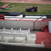 A view of River Plate stadium during a stadium tour group visit to River Plates' El Monumental stadium, Buenos Aires, Argentina, 25th June 2010. Photo Tim Clayton..
