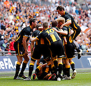 Morpeth Town AFC celebrate scoring to make it 1-2  during the FA Vase Final at Wembley Stadium, London<br /> Picture by Simon Moore/Focus Images Ltd 07807 671782<br /> 22/05/2016