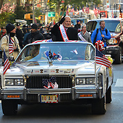 NEW YORK -- U.S. Army Col. (Ret) and astronaut Buzz Aldrin rides in the first car as parade Grand Marshal of the 2017 New York City Veterans Day Parade ceremony, honoring the service of all our nation's veterans. Aldrin, in his speech, advocated for space travel to Mars. <br /> #USNavy, #NavyInNYC, #VeteransDay, #USNavy, #VeteransDay #NeverForget (U.S. Navy photo by Chief Mass Communication Specialist Roger S. Duncan/ Released)