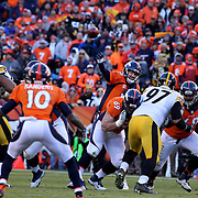 Peyton Manning, Denver Broncos, in action during the Denver Broncos vs Pittsburgh Steelers, NFL Divisional Round match at Authority Field at Mile High, Denver, Colorado.  17th January 2016. Photo Tim Clayton
