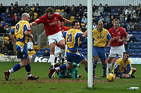 Photo: Paul Thomas.<br /> Mansfield Town v Walsall. Coca Cola League 2. 20/01/2007.<br /> <br /> Ian Roper (2nd L) of Walsall scores.