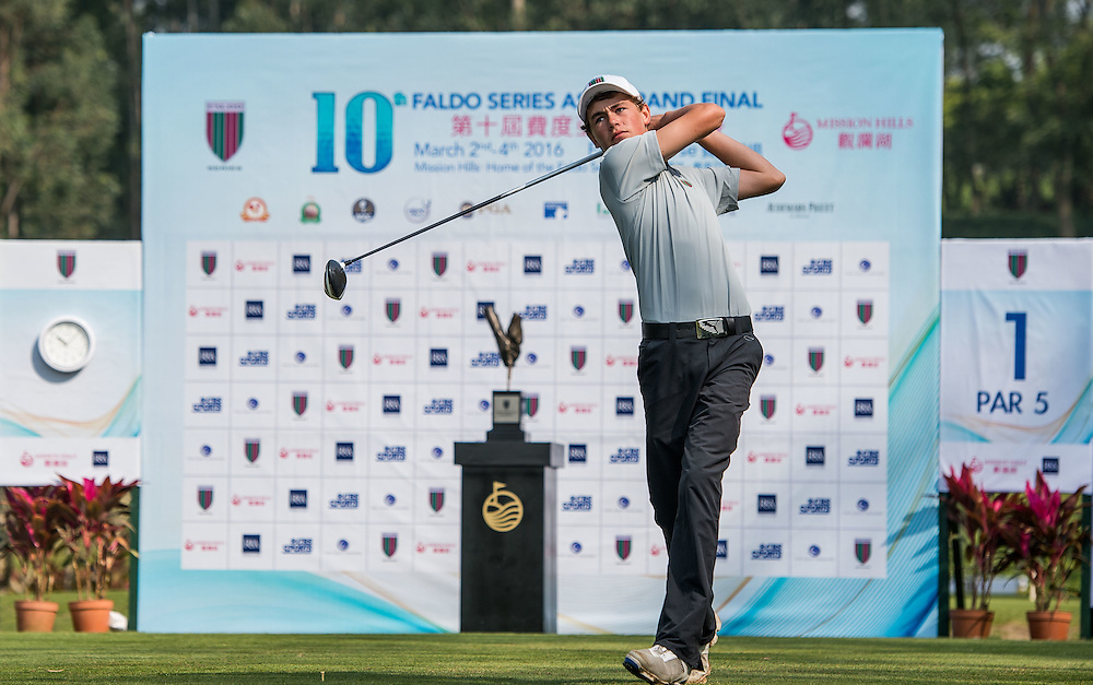 Tom Parker of New Zealand in action during day one of the 10th Faldo Series Asia Grand Final at Faldo course in Shenzhen, China. Photo by Xaume Olleros.