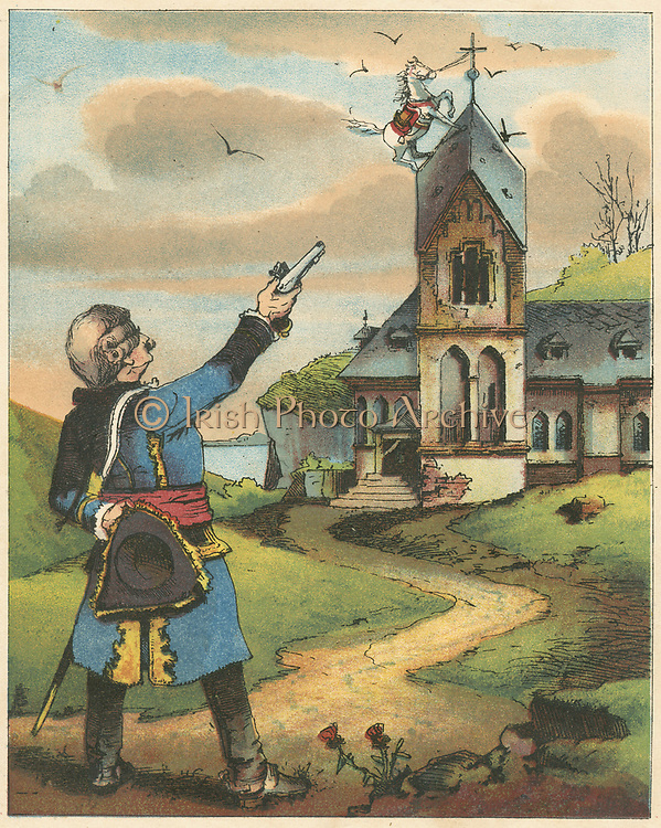 Munchausen, having tethered his horse to pole in snowstorm, in morning finds snow gone and horse on church spire. Ever resourceful, he severs tether with a shot, mounts and continues his journey. From RE Raspe  'The Travels and Surprising Adventures of  Baron Munchausen', first published 1785. Chromolithograph from a French edition c1850.