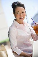 Portrait of young businesswoman having lunch break