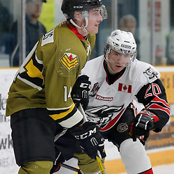 "TRENTON, ON  - MAY 4,  2017: Canadian Junior Hockey League, Central Canadian Jr. ""A"" Championship. The Dudley Hewitt Cup. Game 5 between The Georgetown Raiders and The Powassan Voodoos. Tyler Gervais-Rolfe #10 of the Powassan Voodoos during the first period <br /> (Photo by Amy Deroche / OJHL Images)"
