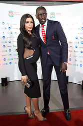 LIVERPOOL, ENGLAND - Tuesday, May 19, 2015: Liverpool's Mamadou Sakho and pregnant wife Mazda Magui arrive on the red carpet for the Liverpool FC Players' Awards Dinner 2015 at the Liverpool Arena. (Pic by David Rawcliffe/Propaganda)