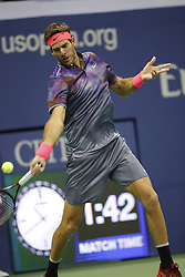 September 6, 2017 - New York City, New York, United States - Juan Martin del Potro of Argentina returns a shot against Roger Federer of Switzerland during their Men's Singles Quarterfinal match on Day Ten of the 2017 US Open at the USTA Billie Jean King National Tennis Center on September 6, 2017 in the Flushing neighborhood of the Queens borough of New York City. (Credit Image: © Foto Olimpik/NurPhoto via ZUMA Press)