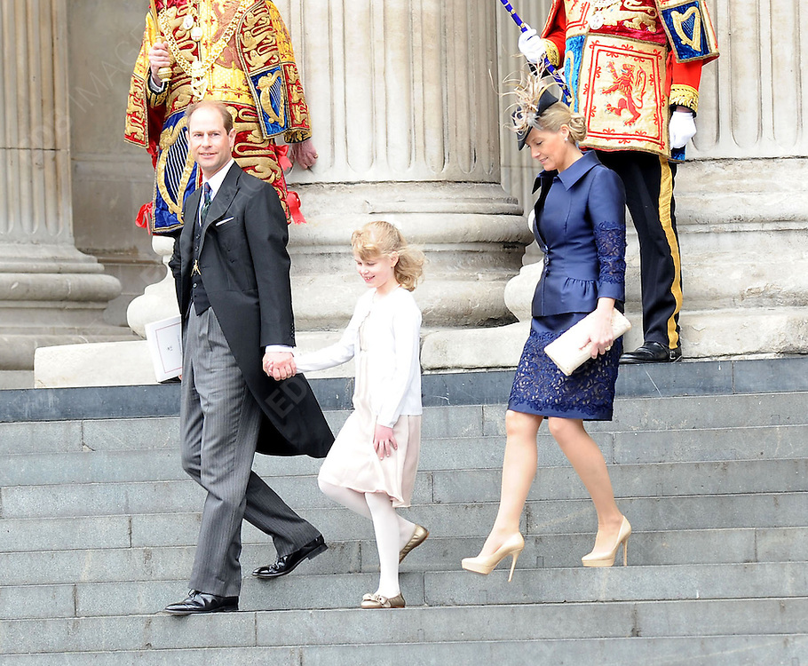 05.JUNE.2012. LONDON<br /> <br /> PRINCE EDWARD, SOPHIE COUNTESS OF WESSEX AND DAUGHTER LADY LOUISE WINDSOR LEAVING THE SERVICE OF THANKSGIVING AS PART OF THE QUEEN'S DIAMOND JUBILEE CELEBRATIONS AT ST PAUL'S CATHEDRAL IN LONDON<br /> <br /> BYLINE: EDBIMAGEARCHIVE.CO.UK<br /> <br /> *THIS IMAGE IS STRICTLY FOR UK NEWSPAPERS AND MAGAZINES ONLY*<br /> *FOR WORLD WIDE SALES AND WEB USE PLEASE CONTACT EDBIMAGEARCHIVE - 0208 954 5968*