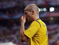 Photo: Chris Ratcliffe.<br /> Sweden v England. FIFA World Cup 2006. 20/06/2006.<br /> Bad night for Freddie Ljungberg.
