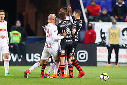 March 13, 2018 - Harrison, NJ, U.S. - HARRISON, NJ - MARCH 13:  New York Red Bulls defender Aurelien Collin (78) pushes Tijuana defender Pablo Aguilar (12) during the second half of the CONCACAF Champions League Quarter-final match between the New York Red Bulls and Club Tijuana on March 13, 2018, at Red Bull Arena in Harrison, NJ.  (Photo by Rich Graessle/Icon Sportswire) (Credit Image: © Rich Graessle/Icon SMI via ZUMA Press)