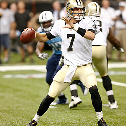 Aug 15, 2014; New Orleans, LA, USA; New Orleans Saints quarterback Luke McCown (7) throws against the Tennessee Titans during first quarter of a preseason game at Mercedes-Benz Superdome. Mandatory Credit: Derick E. Hingle-USA TODAY Sports