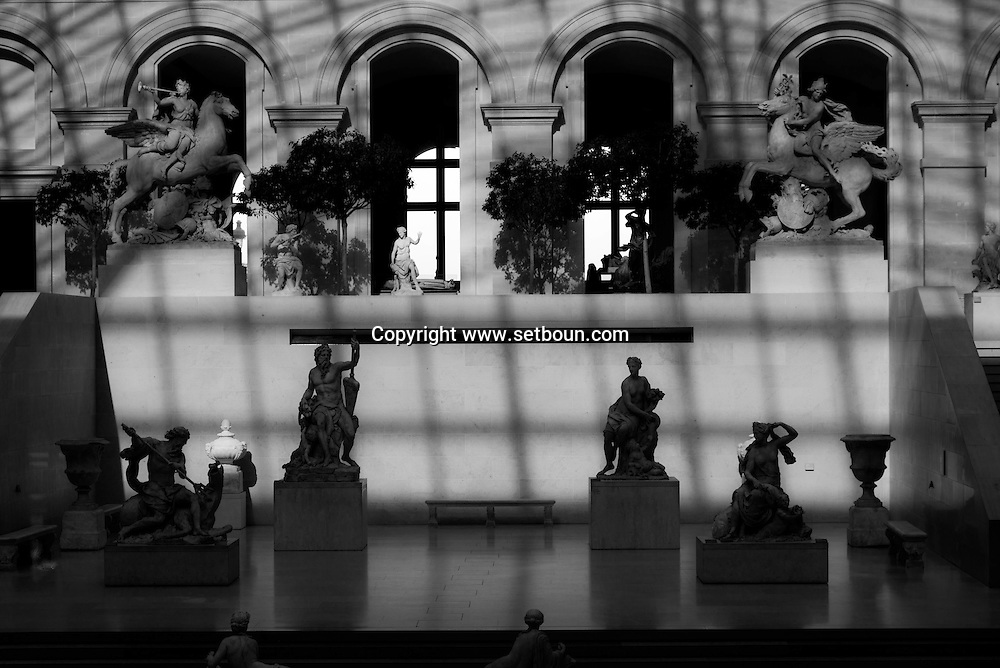 France. Paris. 1st district. Louvre museum.  marly courtyard and Stairs of the Musee du Louvre