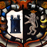 Stained glass coat of arms of the Sforza family at Sforza Castle, Milan, Italy<br />