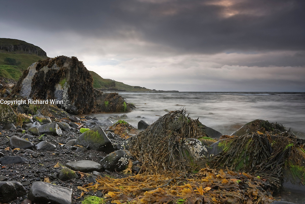 Foreboding skies as another storm approaches Glendale Beach on the Isle of Skye.