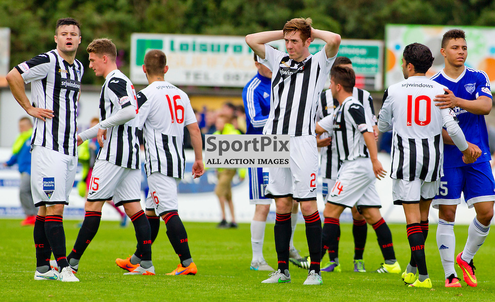Peterhead v Dunfermline Athletic SPFL League One Season 2015/16 Balmoor Stadium 22 August 2015<br /> Dejection for DAFC at full time<br /> CRAIG BROWN | sportPix.org.uk