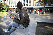 """""""Saleh"""" (not his real name) an asylum seeker from Eritrea, pictured in the centre of Bolton, northwest England, his home for more than a year since arriving from Italy. He has lost his leave to remain in the UK."""