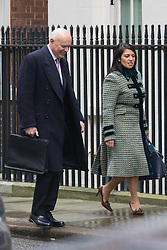 Downing Street, London, February 11th 2016. Work and Pensions Secretary Iain Duncan Smith and Employment Minister Priti Patel attend the weekly cabinet meeting. <br /> &copy;Paul Davey<br /> FOR LICENCING CONTACT: Paul Davey +44 (0) 7966 016 296 paul@pauldaveycreative.co.uk