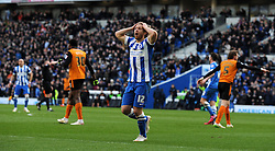 Dejection for Brighton and Hove Albion's Craig Mackail-Smith as his goal is ruled out for offside. - Photo mandatory by-line: Harry Trump/JMP - Mobile: 07966 386802 - 14/03/15 - SPORT - Football - Sky Bet Championship - Brighton v Wolves - Amex Stadium, Brighton, England.