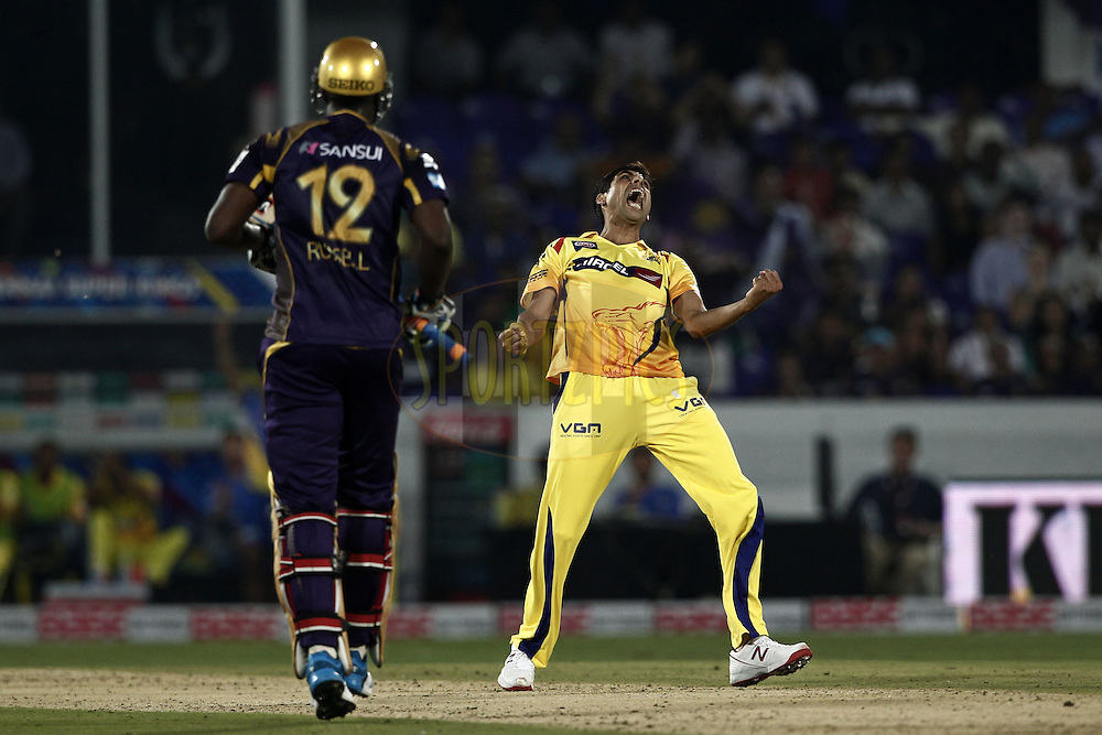 Ashish Nehra of The Chennai Superkings  celebrates the wicket of  Andre Russell of the Kolkata Knight Riders during match 1 of the Oppo Champions League Twenty20 between the Kolkata Knight Riders and the Chennai Superkings held at the Rajiv Gandhi Cricket Stadium, Hyderabad, India on the 17th September 2014<br /> <br /> Photo by:  Deepak Malik / Sportzpics/ CLT20<br /> <br /> <br /> Image use is subject to the terms and conditions as laid out by the BCCI/ CLT20.  The terms and conditions can be downloaded here:<br /> <br /> http://sportzpics.photoshelter.com/gallery/CLT20-Image-Terms-and-Conditions-2014/G0000IfNJn535VPU/C0000QhhKadWcjYs
