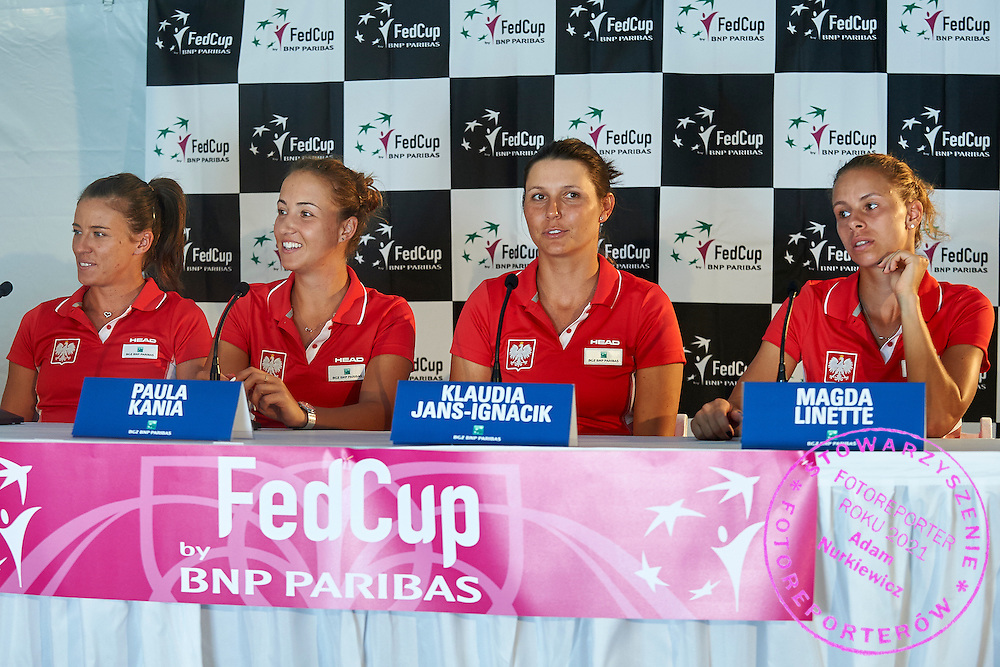 KAILUA KONA, USA - 2016 FEBRUARY 03: (L-R) Alicja Rosolska and Paula Kania and Klaudia Jans-Ignacik and Magda Linette all of Poland attend in press conference on three days before the Fed Cup / World Group II 1st round tennis match between USA and Poland on February 03, 2016 at Holua Tennis Center in Kailua Kona, USA.<br /> <br /> Picture also available in RAW (NEF) or TIFF format on special request.<br /> <br /> Any editorial, commercial or promotional use requires written permission from the author of image.<br /> <br /> Adam Nurkiewicz declares that he has no rights to the image of people at the photographs of his authorship.<br /> <br /> Mandatory credit:<br /> Photo by &copy; Adam Nurkiewicz / Mediasport