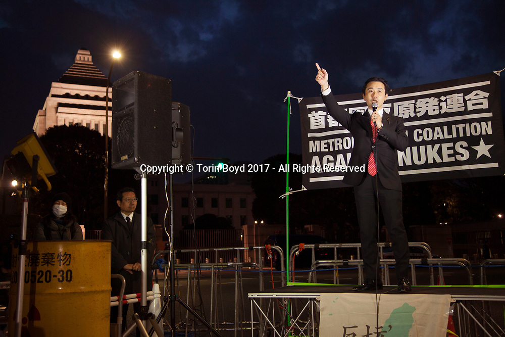 March 11, 2017, Tokyo, Japan: Democrat Kihiro Hatsushika, a member of Japan's House of Representatives addressed a crowd of thousands rallying against nuclear energy in front of Japan's National Diet Building (parliament) on the sixth anniversary of the Fukushima Daiichi Nuclear Power Plant disaster. All over Japan grass roots demonstrations were held as well as memorial services for the victims of the magnitude 9.0 earthquake and tsunami which killed more than 22,000 people. (Photo by Torin Boyd).