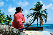 Woman enjoying the scenic beach view, Ambergris Caye, Belize