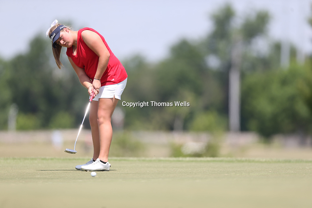 Nettleton's Riley Mayhew watches her birdie putt attempt on number six roll just past the hole on Tuesday at Big Oaks Golf Course in Tupelo.