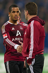 19.11.2011, Veltins Arena, Gelsenkirchen, GER, 1. FBL, FC Schalke 04 vs 1. FC Nuernberg, im Bild Daniel Didavi (#20 Nuernberg), Dieter Hecking (Trainer Nuernberg) // during FC Schalke 04 vs. 1. FC Nuernberg at Veltins Arena, Gelsenkirchen, GER, 2011-11-19. EXPA Pictures © 2011, PhotoCredit: EXPA/ nph/ Kurth..***** ATTENTION - OUT OF GER, CRO *****