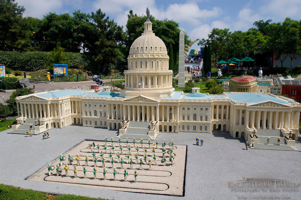 Lego Miniature Model of the Capitol Building in Washington DC at Miniland, LegoLand, tourist amusement attraction in Carlsbad, San Diego County, California