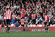 Brentford Forward Neal Maupay (9) celebrates his goal (score 1-0) during the EFL Sky Bet Championship match between Brentford and Ipswich Town at Griffin Park, London, England on 7 April 2018. Picture by Andy Walter.