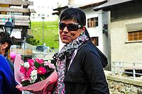 Macarena Pescador femme d'Alberto Contador - 29.05.2015 - Tour d'Italie - Etape 19 :  Gravellona Toce / Cervinia<br />Photo : Sirotti / Icon Sport