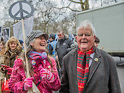 """Bruce Kent - A CND led national demonstration to protest against Britain's nuclear weapons system: Trident. They state - """"The majority of the British people, including the Labour leader Jeremy Corbyn, oppose nuclear weapons. They are weapons of mass destruction, they don't keep us safe and they divert resources from essential spending."""" The march from Hyde park to Trafalgar Square was supported by Friends of the Earth, the Green party, Greenpeace, the PCS Union, the Quakers, the Stop the War Coalition, War on Want amongst amny others."""