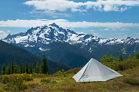 Backcountry camp on Goat Mountain. Mount Shuksan is in the distance. Mount Baker Wilderness, North Cascades Washington