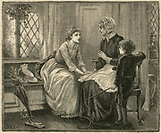 Three generatios of a family: grandmother, mother, and son. Engraving 1887.