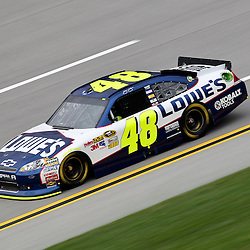 April 15, 2011; Talladega, AL, USA; NASCAR Sprint Cup Series driver Jimmie Johnson (48) during practice for the Aarons 499 at Talladega Superspeedway.   Mandatory Credit: Derick E. Hingle