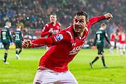 ALKMAAR - 20-02-2016, AZ - FC Groningen, AFAS Stadion, 4-1, AZ speler Vincent Janssen heeft de 1-0 gescoord, juichen.