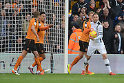 Wolverhampton Wanderers midfielder Wander Helder Costa (17) scores a goal 1-2 during the EFL Sky Bet Championship match between Wolverhampton Wanderers and Derby County at Molineux, Wolverhampton, England on 5 November 2016. Photo by Alan Franklin.