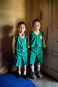 Portrait of Fazril (5) and his friend and schoolmate Sahrul (6).  Citeureup Village, Kabupaten Bandung...Credit: Andri Tambunan for Greenpeace