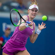 2019 US Open Tennis Tournament- Day Two.  Alison Riske of the United States in action against Garbine Muguruza of Spain in the Women's Singles Round One match on Grandstand Stadium at the 2019 US Open Tennis Tournament at the USTA Billie Jean King National Tennis Center on August 27th, 2019 in Flushing, Queens, New York City.  (Photo by Tim Clayton/Corbis via Getty Images))