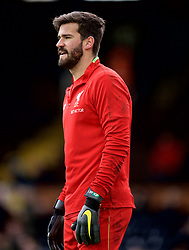 LONDON, ENGLAND - Sunday, March 17, 2019: Liverpool's goalkeeper Alisson Becker during the pre-match warm-up before during the FA Premier League match between Fulham FC and Liverpool FC at Craven Cottage. (Pic by David Rawcliffe/Propaganda)