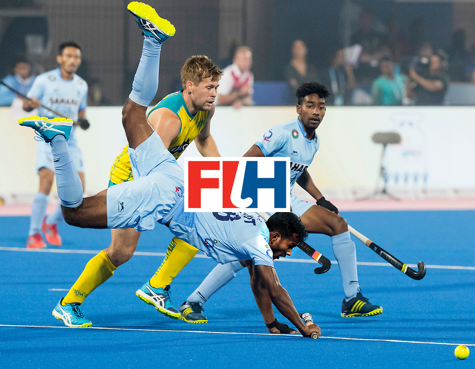 BHUBANESWAR - The Odisha Men's Hockey World League Final . Match ID 02. Australia v India. Amit Rohidas (Ind)  with Aaron Kleinschmidt (Aus) .WORLDSPORTPICS COPYRIGHT  KOEN SUYK
