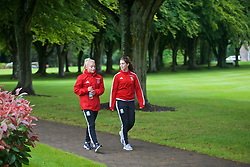 CARDIFF, WALES - Friday, August 19, 2016: Wales' Charlie Estcourt and Claire Skinner during a pre-match walk at the Vale Resort ahead of the international friendly match against Republic of Ireland. (Pic by Laura Malkin/Propaganda)