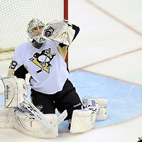 08 March 2009:  Pittsburgh Penguins goalie Marc-Andre Fleury (29) makes a glove save on a 3rd period on a shot by the Washington Capitals at the Verizon Center in Washington, D.C.  The Penguins defeated the Capitals 4-3 in a shootout to send the Capitals to their fourth consecutive defeat.