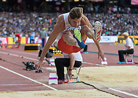 Athletics - 2017 IAAF London World Athletics Championships - Day One<br /> <br /> Event: Men's Long Jump Qualifying <br /> <br /> Tomaz Jaszczuk (POL) leaps into the pit<br /> <br /> <br /> COLORSPORT/DANIEL BEARHAM