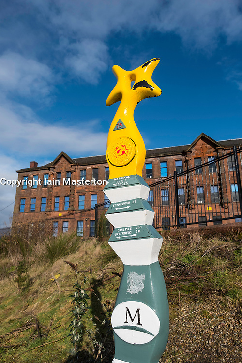 National Cycle Network sign on River Clyde Walkway in Glasgow, Scotland, United Kingdom