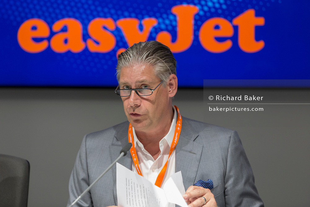 The CEO of EasyJet, Johan Lundgren at the Farnborough Airshow, on 18th July 2018, in Farnborough, England.