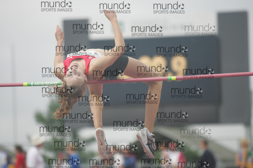 (Sherbrooke, Quebec---10 August 2008) Samantha Groeneveld competing in the youth girls high jump at the 2008 Canadian National Youth and Royal Canadian Legion Track and Field Championships in Sherbrooke, Quebec. The photograph is copyright Sean Burges/Mundo Sport Images, 2008. More information can be found at www.msievents.com.