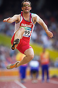 Lukas HENDRY of Switzerland in The Bird's Nest National Stadium competeing in themen's long jump F11 final at the Paralympic games, Beijing, China. 15th September 2008